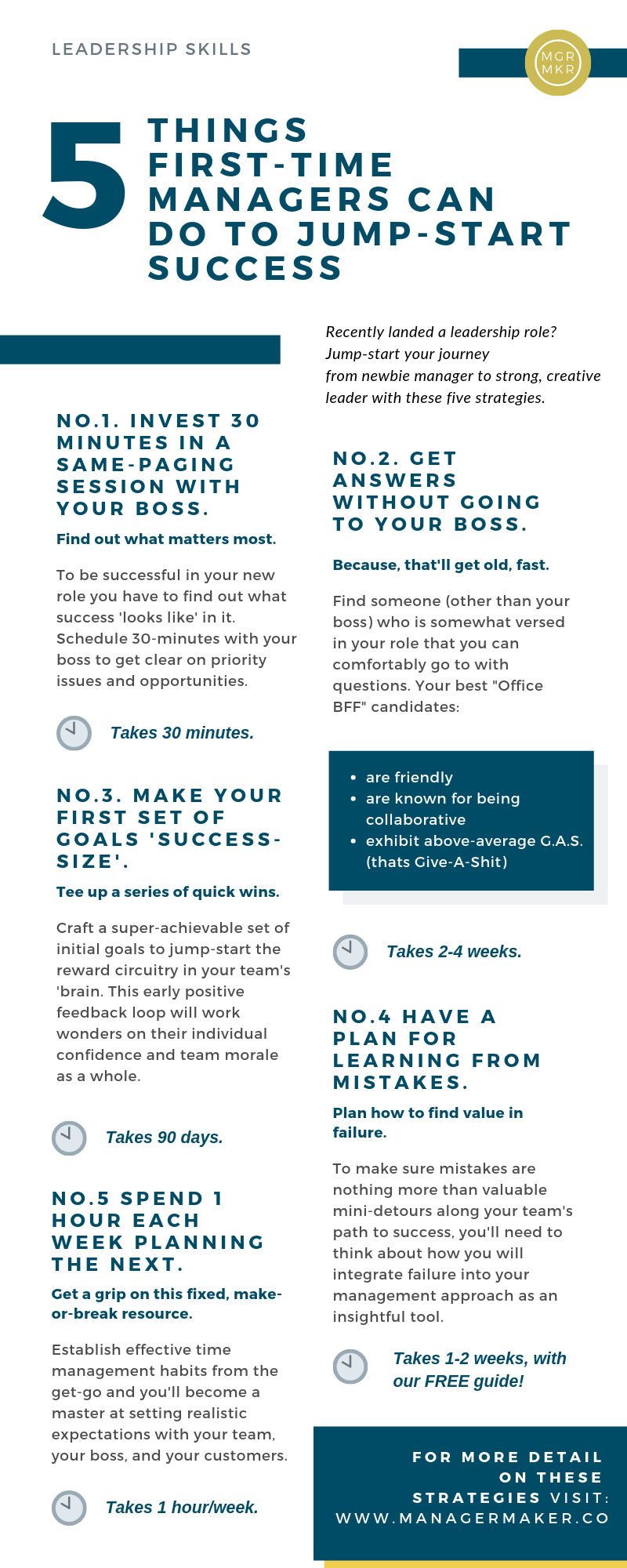 5 Things to First-time Managers Can do to Jump-Start Success Infographic